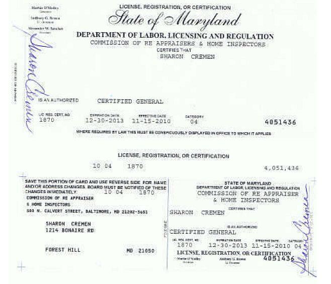 MD License- Sharon Cremen, SRA